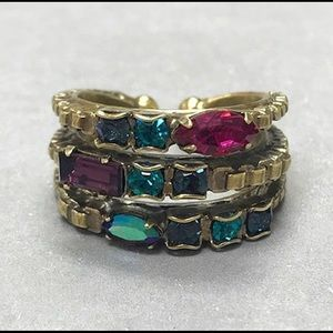 Beautiful Jeweled Crystals Triple Band Ring, NWT